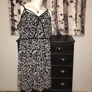 Lane Bryant grey and black floral strappy dress